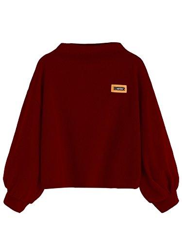DIDK Damen Sweatshirt O-Neck Pullover Oberteile Casual Langarmshirts Pulli Tunika mit Laterne Ärmeln Weinrot S