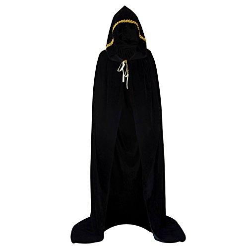HowYouth Umhang Mit Kapuze Lange Samt Cape Vampir Kostüm Halloween Erwachsener Unisex 170CM (Schwarz Lace) (Samt-cape Mit Kapuze)