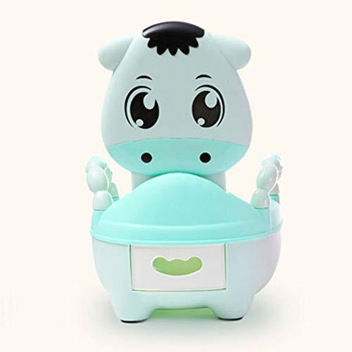 LWYJ Jungen und Mädchen Töpfchen Stuhl Sitz Toilette Urinal Cartoon Kuh weich gepolstert mit Griffen,Green - Kuh-stuhl