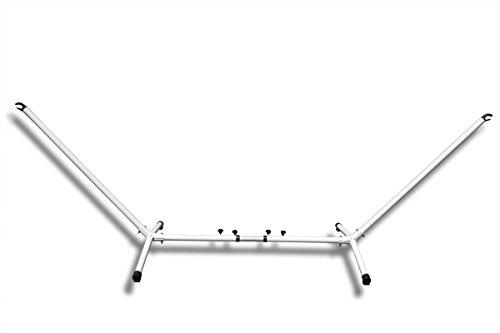 Hängemattengestell vestellbar aus Metall :: 280 - 340 cm :: Hängematten Gestell belastbar bis 150 kg, weiß