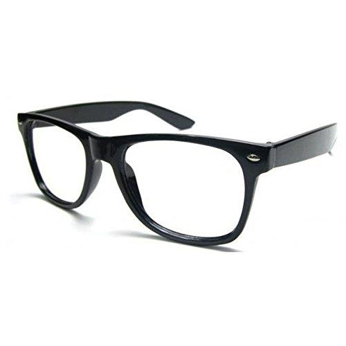 NEW UNISEX (Damen Herren) Retro Vintage Brille CLEAR LENS Saubere Linsen WAYFARER Clubmaster Shades Morefaz(TM) (Black clear lens)