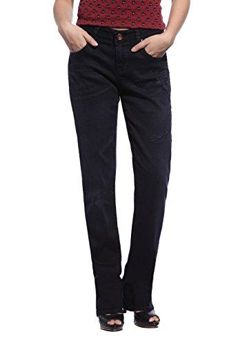 Christian Audigier Womens Outstanding Straight Leg Jean Premium Slim Fit Denim Dark Wash
