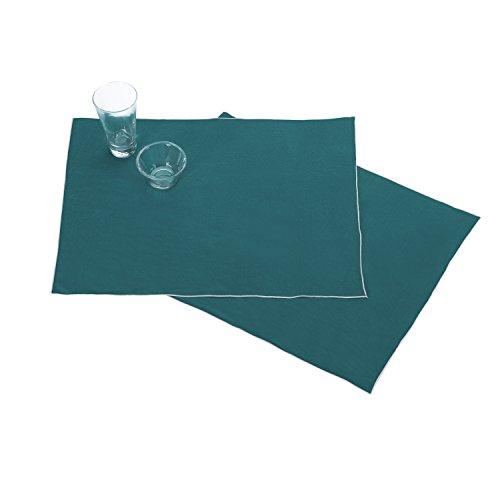 BLANC CERISE Les 2 Sets de Table en 100% Lin Lavé, Unies avec Bourdon de Couleur 38*48