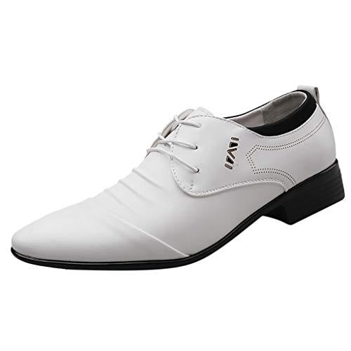 FNKDOR Schuhe Großformat(38-47) Herren Spitz Geschäft Lederschuhe Schnürsenkel Knittern Männer Berufsschuhe Freizeit Kleid Schuhe Hochzeitsschuhe Weiß 47 EU -