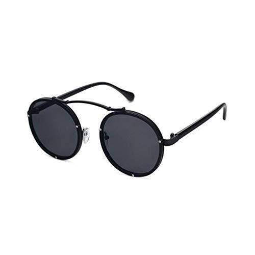 YIWU Brillen Net red Celebrity Same Absatz 2019 Persönlichkeit Sonnenbrille Weiblicher Prinz Spiegel Runde Gesicht Niet Sonnenbrille Koreanische Version Hipster-Brille Brillen & Zubehör (Color : 1)