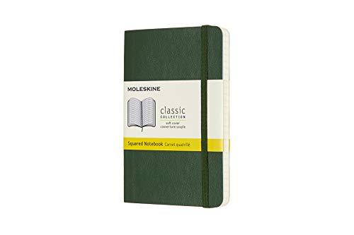 Moleskine 8058647629162 - Taccuino collezione classica Pocket/A6, a quadretti, copertina morbida, colore: Verde mirtillo