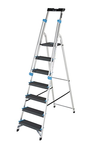 TB Davies Trade Professional 7-Tread Aluminium Step Ladders – Fitted with Twin Safety Handrails. EN131 Tool tray holds tools