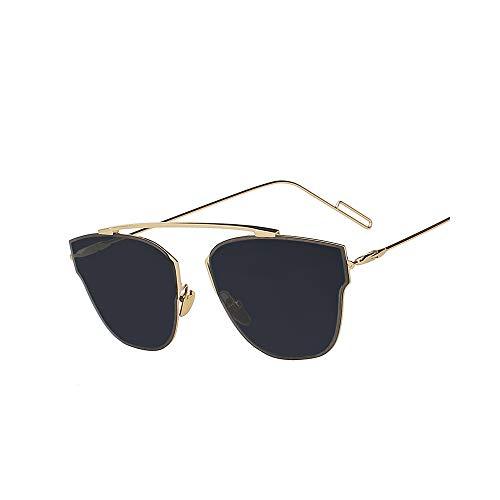 WJFDSGYG Metallrahmen Frau Brille Sonne Damen Mode Sonnenbrillen Markendesigner Pink Flash Lens