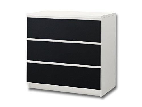 Kreidefolie / Tafelfolie - KF07 - passend für die Kommode mit 3 Fächern / Schubladen MALM von IKEA - Bestehend aus 3 passgenauen Kinderzimmer Möbelfolien (Möbel nicht inklusive)