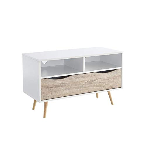 BELA Meuble TV scandinave blanc et décor chene mat + pieds en bois hévéa - L 90 cm