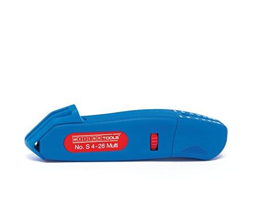 WEICON Kabelmesser No. S 4-28 Multi | Integrierte Abisolierfunktion | Hohe Sicherheit | Universal Abisolierwerkzeug mit verstellbarer Schnitttiefe | Abisolieren von 0,5-6,0 mm² (20,0-10,0 AWG) | Entmantler für Rundkabel | Arbeitsbereich 4 - 28 mm Ø | TÜV | blau / rot | 100% Made in Germany