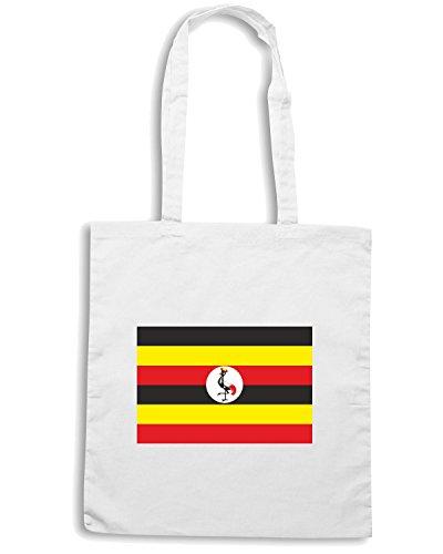 T-Shirtshock - Borsa Shopping TM0258 Uganda flag Bianco