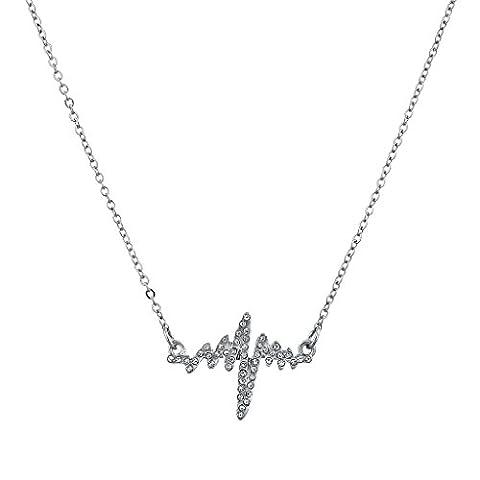 Lux Accessoires Silvertone serti de fréquence cardiaque du rythme cardiaque Emily Ann Studio–Collier