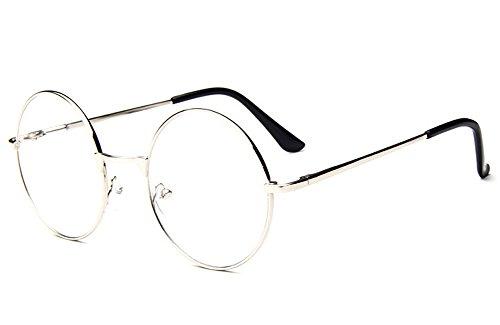 Küssen U Unisex Klassisch Retro Runden Voll Klare Linse Augen Brille Rahmen Lesen Brille (Silber)