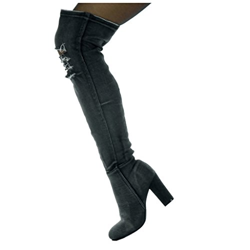 5 Strappati Di Angkorly 8 Donna Blocco Modo Ponticello Denim Nero Tallone Pattino Coscia Di Jeans Flessibile Cm vg0fvwq6