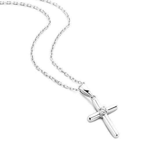 Kreuz Lila Halskette (Orovi Damen Diamant Halskette Weißgold 9 Karat (375) Kreuz Anhänger Goldkettet Brillanten 0.03crt)