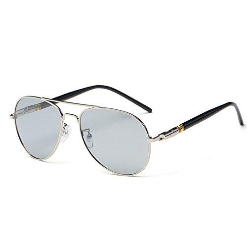 QQBL Tag und Nacht Intelligente Farbe Ändern Smart-Zoom Anti-Reflektierende Retro-Metall TAC Light Perspective 99,9 (%) UV400 Polarisation Sonnenbrille,Silver
