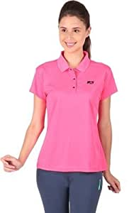 Vector X Women's Solid Polo Neck T-Shirt VTDF-008C Pink (Large)