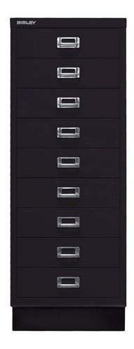 BISLEY MultiDrawer, 39er Serie mit Sockel, DIN A3, 9 Schubladen, Metall, 633 Schwarz, 43.2 x 34.9 x 94 cm