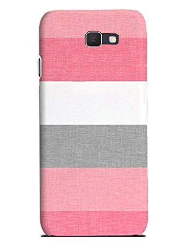 Aravstore Designer Printed Slim Light Weight Back Cover Case for Samsung Galaxy J7 Prime - Pink, White, Black Stripes
