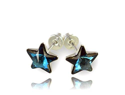 Crystals & stones, meravigliosi orecchini a stella in argento 925, da donna e ragazza, con elementi di cristalli swarovski e custodia e argento, colore: bermuda blue, cod. 7