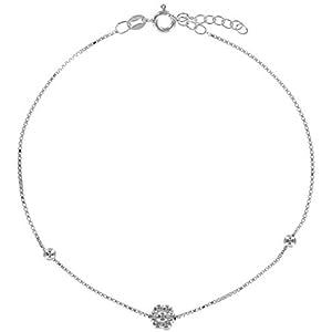 Avesano feines Damen Fusskettchen in 925 Sterling Silber mit Blumen Anhänger und Zwei silbernen Kugeln, Sommer Fußbändchen, Länge 25 cm Größenverstellbar, 103012-001