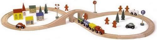 Circuit de train en bois complet modulable avec accessoires de 46 pièces.
