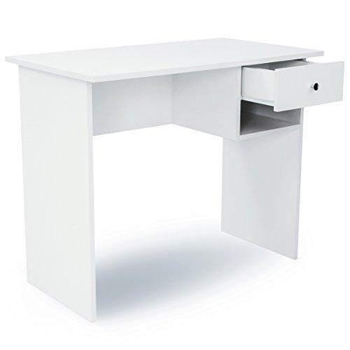 COMIFORT Escritorio con Cajon y Estante, Mesa de Ordenador, Escritorios de Oficina, 90x50x74 cm (Nordic)