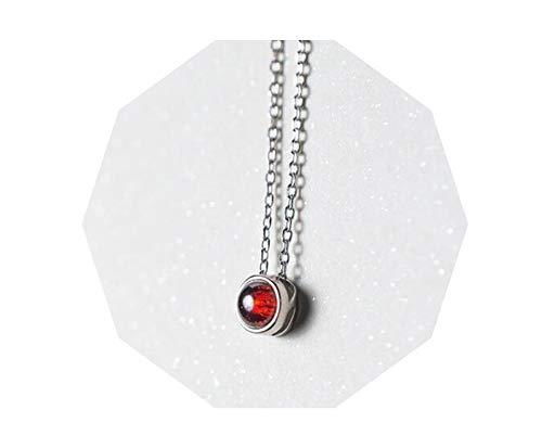 Halskette mit Anhänger, Sterling-Silber 925, rund, 6 mm, Rot