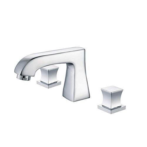 YZ-YUAN Widespread Double Handles Bathroom Faucet with Pop Up Drain and cUPC Tap Supply Lines, Chrome
