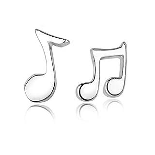 Celebrity Jewellery 925 Sterling Silver Music Note Cute Small Stud Earrings for Women Tiny Sleeper Earrings