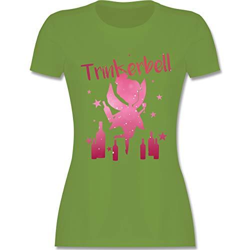 JGA Junggesellinnenabschied - Trinkerbell mit Flaschen - L - Hellgrün - L191 - Damen Tshirt und Frauen T-Shirt - Flasche Hellgrün
