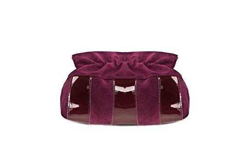 Borsa femme ANNALUNA violet vin MADE IN ITALY camoscio vernice borsetta N337
