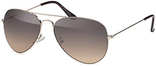 MOKIES Unisex Sonnenbrillen - UV400 Filterkategorie 3 CE Kennzeichnung - Pilotenbrille Fliegerbrille - Polycarbonat - Edelstahl - 501 grau-braun verlaufend