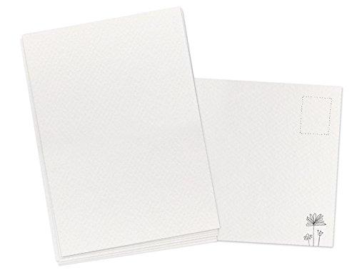 50 Blanko Aquarellpapier Postkarten, weiß im A6 Format, 300g Karton zum selbst gestalten, leere DIY Karten zum Selbstbeschreiben und Selbstbedrucken für Kinder und Erwachsene, klimaneutral