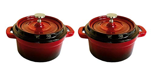 Lot de deux 10 cm Mini Cocottes en fonte en rouge Couleurs