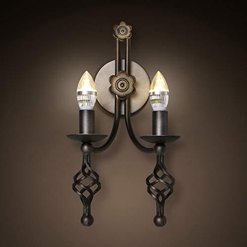 YANG Vintage Loft Wandleuchte Kreative Eisen Doppelkopf Kerze Wandleuchte Wohnzimmer Schlafzimmer...