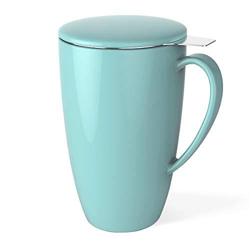 Sweese 2101 Teetasse mit Deckel und Sieb, Tee tassen Porzellan für Losen Tee Oder Beutel, Helltükis, 400 ml Hohe Tasse