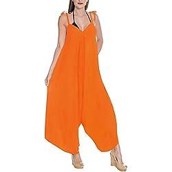 LA LEELA Plage féminin Salopette Couvrir Robe de Maillots de Bain Maillot de Bain Bikni Citrouille Orange_C128