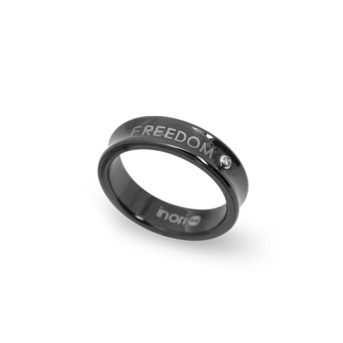 """INORI Herren-Ring \""""freedom\"""" Edelstahl schwarz mit Zirkoniastein  71000009"""