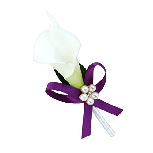 Imported Wedding Bridal Groom Calla Lily Flower Boutonniere Corsage Purple Ribbon