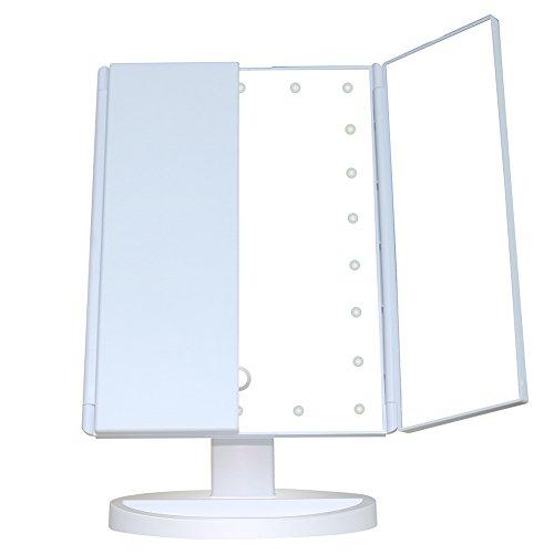 Ourdream Tri-Fold LED Maquillage Miroir À Écran Tactile USB De Charge/Batterie 180 Degrés Réglable Pour Le Voyage De Table De Rasage Dressing (Ne Pas Inclure La Batterie),White