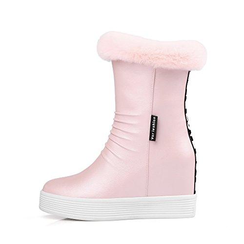 VogueZone009 Damen Weiches Material Rund Zehe Rein Niedrig-Spitze Hoher Absatz Stiefel, Pink, 33