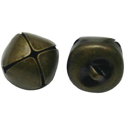 Generic in metallo 1,5x 1,5cm Pet collare campana colore ottone anticato per collana accessori confezione da 50