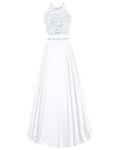 Dresstells Damen Lang Chiffon Promi-Kleider Ärmellose Friesen Party Kleider Weiß