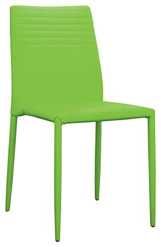 Brianza Outlet Fiona Sedia di Design a Doghe, Finta Pelle, Verde, 40 x 43 x 47.5 cm