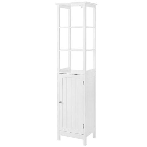 VASAGLE Hochschrank, Badezimmerschrank mit 3 offenen Fächern und verstellbarem Einlegeboden, Badregal im Landhausstil, Badschrank aus Holz, weiß, 40 x 160 x 32 cm (B x H x T) BBC63WT