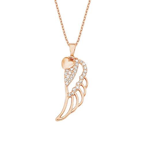 Amor Damen-Kette 42+3 cm mit Anhänger Flügel Herz 925 Silber rosévergoldet Zirkonia weiß
