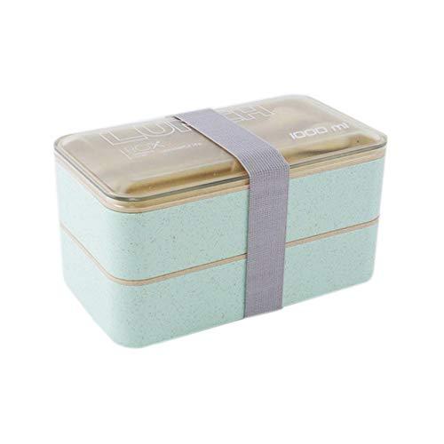 Sunsline Hohe Qualität Japanische Bento Lunchbox Wasser Suppe Becher Isoliert Mittagessen Kühler Einkaufstasche Lebensmittelbehälter Mikrowelle Bento Lunch Box (Grün)