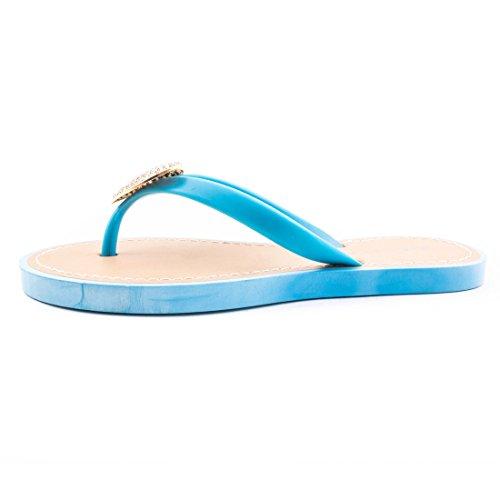 Stylische Damen Zehentrenner Sommer Slipper mit Herz & Strass Blau